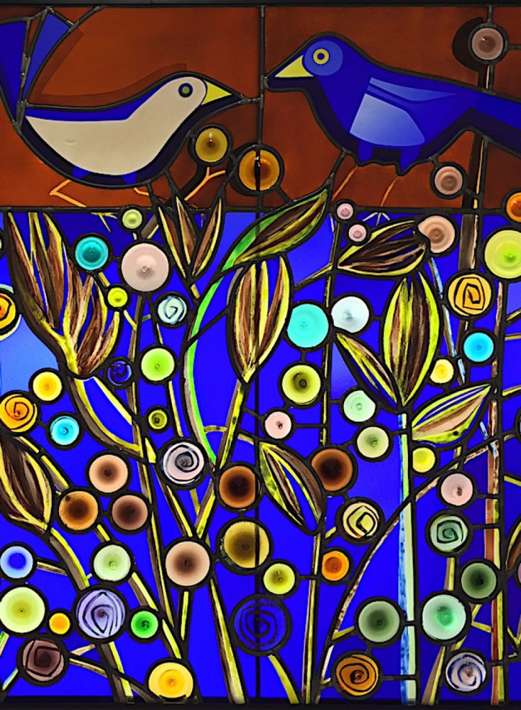 blue birds stained window